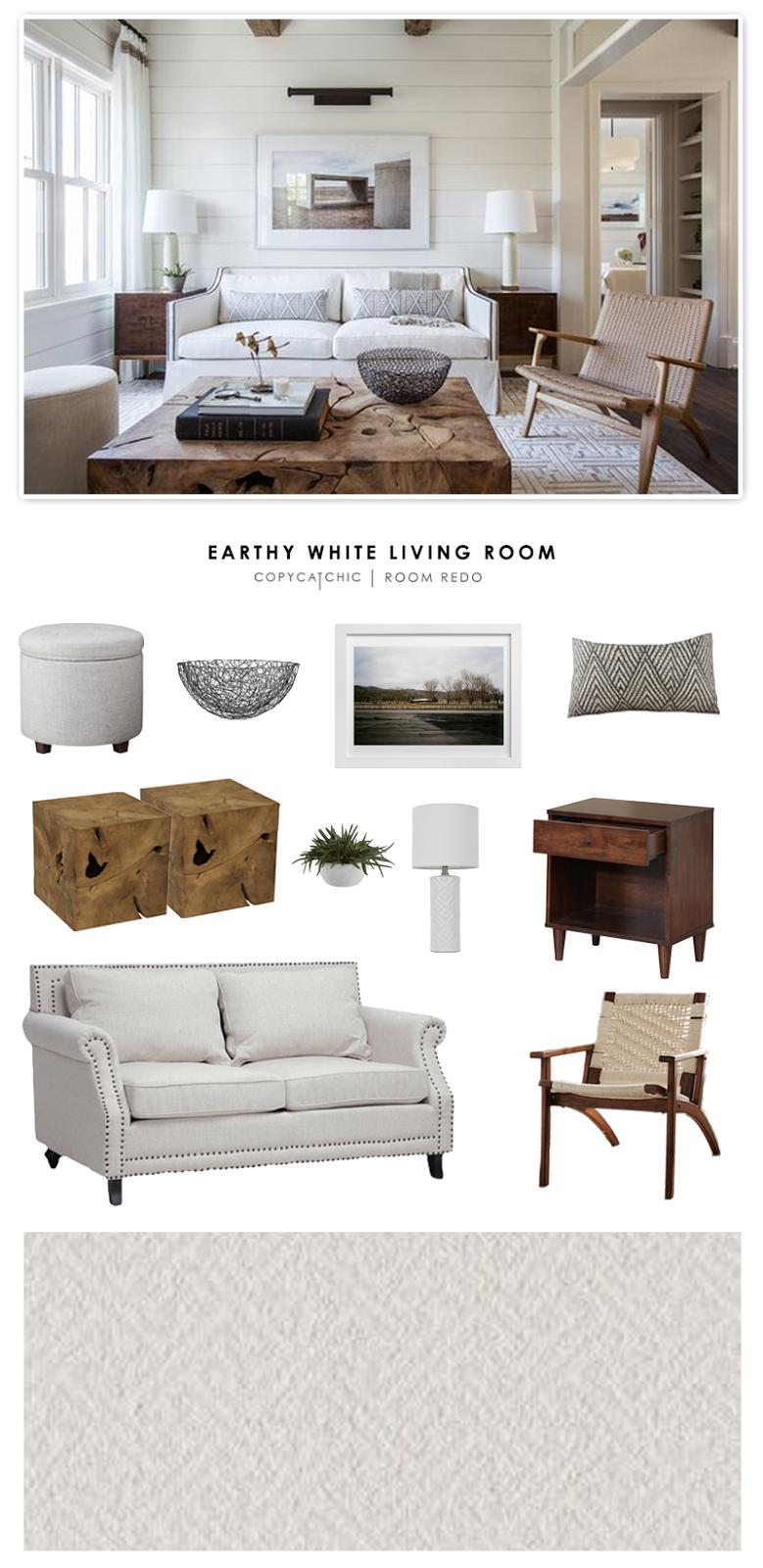 Copy cat chic room redo earthy white living room copy for Copy design