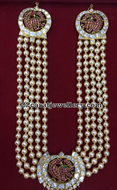 Cultured Pearls Haram with Peacock Motifs
