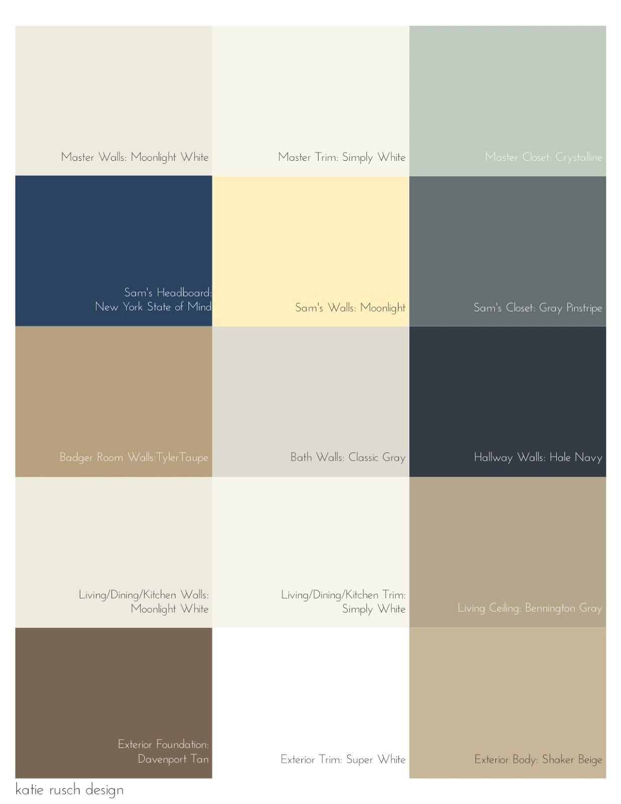 My Home S Color Scheme Including Wall Ceiling Closet And Exterior Colors