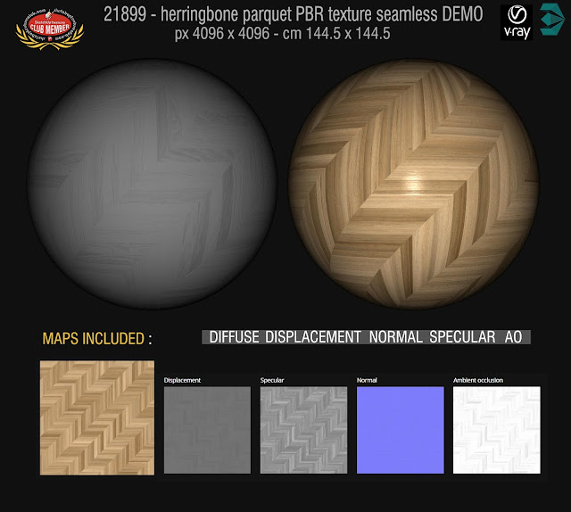 Herringbone parquet PBR texture seamless 21899