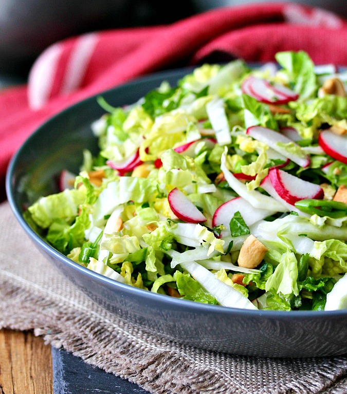 Thai-Style Coleslaw with Chiles, Mint, and Cilantro with cashews