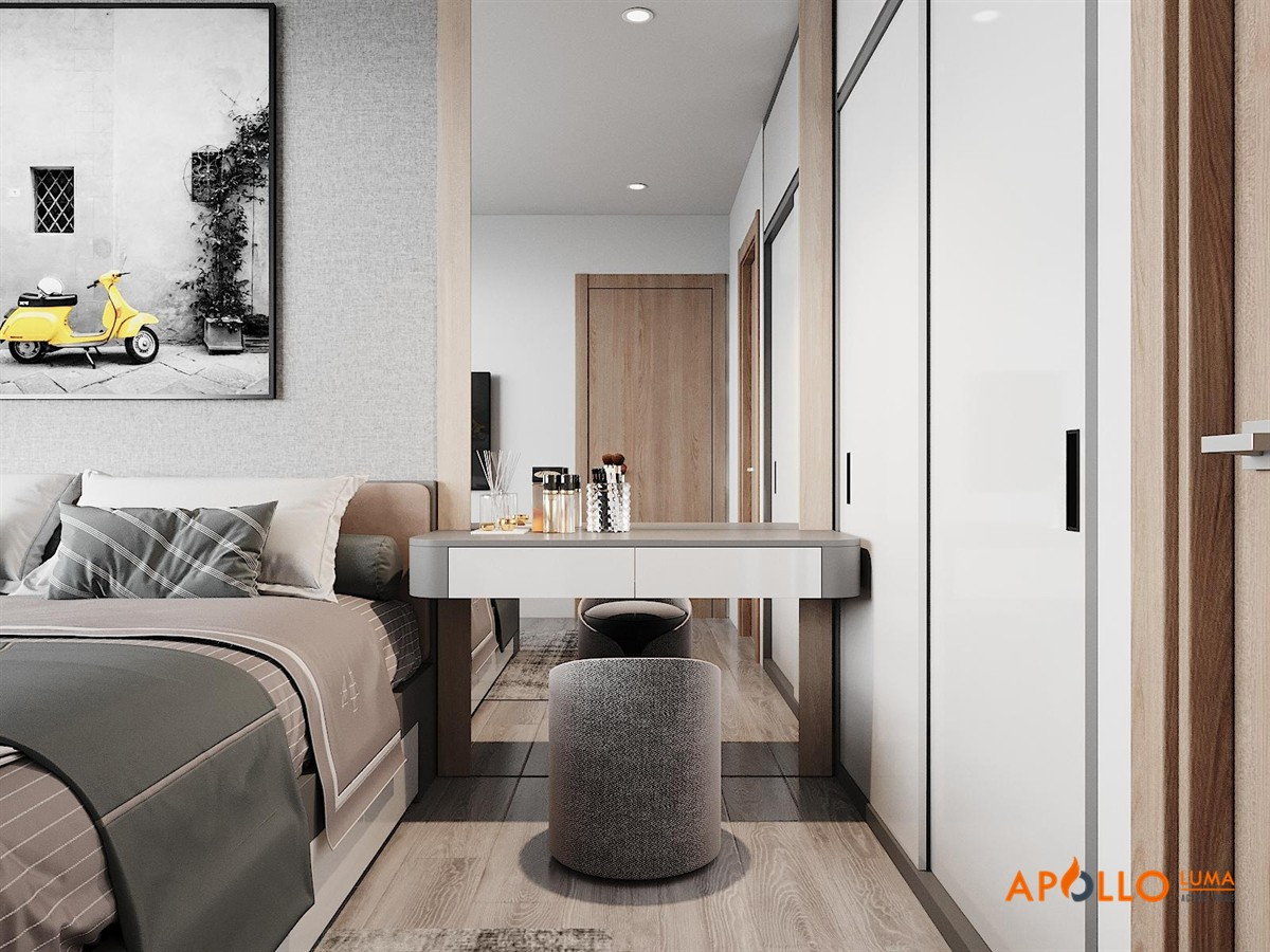 Thiết kế phòng ngủ mẫu 2:  Phong cách hiện đại  với sự kết hợp hài hòa màu ghi xám và trắng