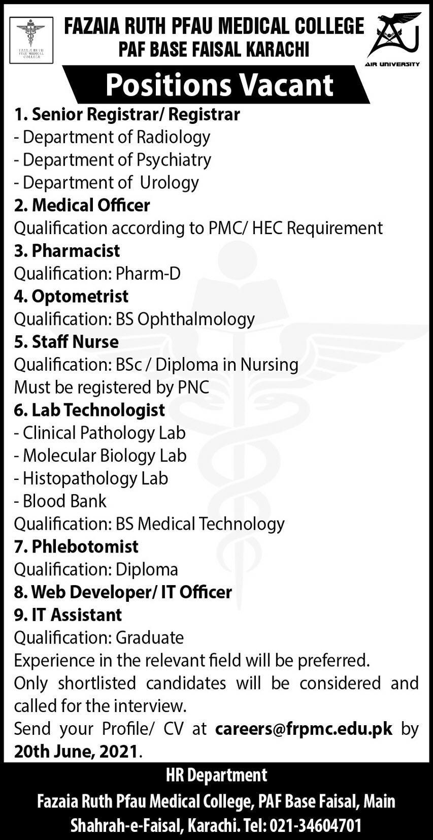 careers@frpmc.edu.pk - Fazaia Ruth Pfau Medical College PAF Base Faisal Karachi Jobs 2021 in Pakistan