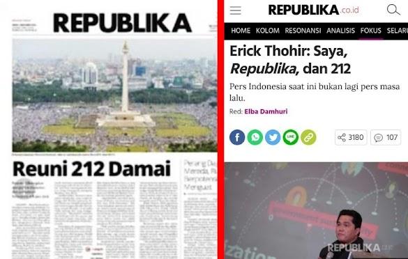 Pembelaan Diri Erick Thohir, Dilema Republika dan Timses Jokowi-Ma'ruf