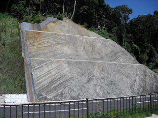 道路の壁が、地滑りで地上に現れた地層