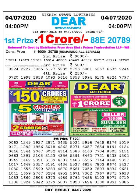 Lottery Sambad Today 04.07.2020 Dear Honour Saturday 4:00 pm
