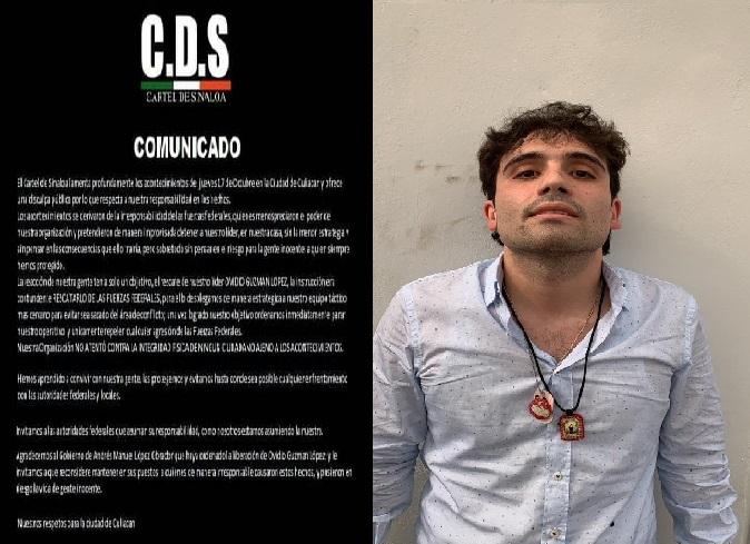 Comunicado del Cartel de Sinaloa en el que agradece al Presidente la liberación de Ovidio Guzmán
