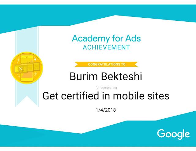 Get certified in Mobile sites -Burim Bekteshi
