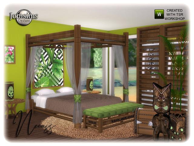 Necass bedroom Necass спальня для The Sims 4 Летнее приключение Тики с новой спальней для взрослых, пляжем для вдохновения и отдыха. bed.rugs. роспись стен большая. настенная роспись small.end стол, настольная лампа, скульптура багажника. скульптура Тики, комод, растение, маска деко, кресло для сидения - все в 4 оттенках и 4 цветах. тепло и приключение. Автор: jomsims