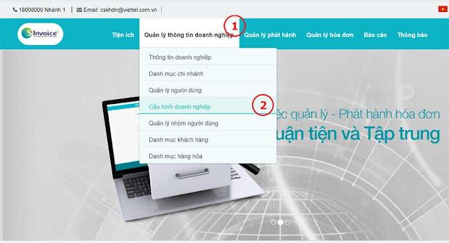 Hình 9 - Cấu hình doanh nghiệp trong hệ thống hóa đơn điện tử S-Invoice