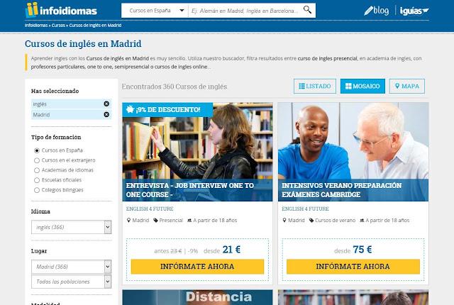 Infoidiomas es un buscador de cursos de inglés en Madrid