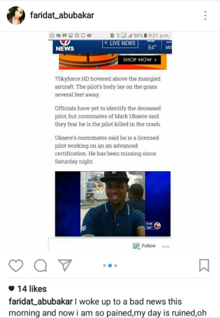 The ex girlfriend of Mark Ukaere, the Nigerian pilot that died in a plane crash in Florida apologizes to him