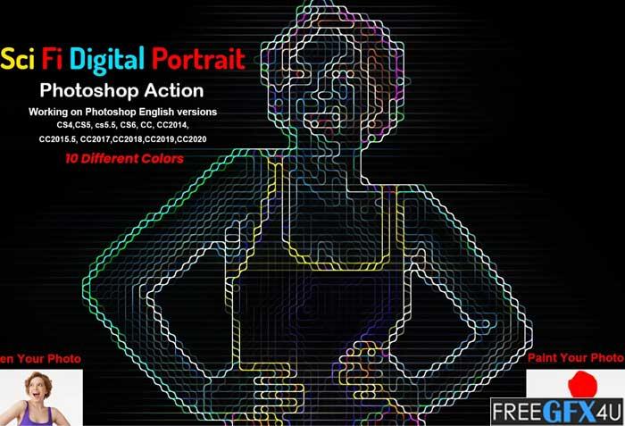Sci-fi Digital Portrait PS Action