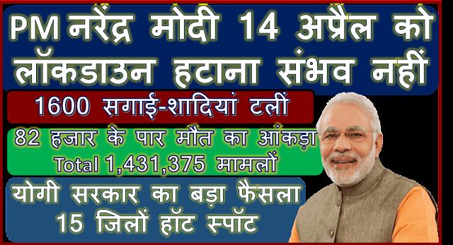 PM नरेंद्र मोदी बोले- 14 अप्रैल को लॉकडाउन हटाना संभव नहीं - योगी सरकार का बड़ा फैसला, UP के 15 जिलों के हॉट स्पॉट