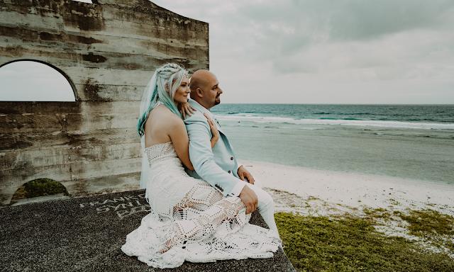 blonde bride edgy bride blue hair