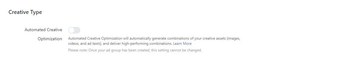 TikTok ads: Set Creative Type