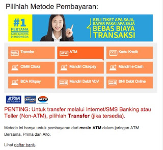 Cara bayar Traveloka via atm