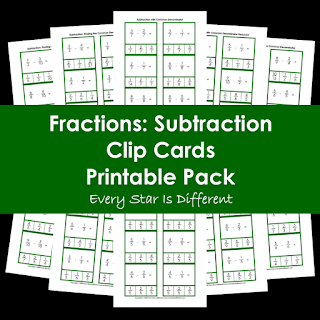 Fractions: Subtraction Clip Cards Printable Pack