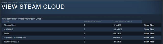 قائمة بألعاب Steam Cloud المحفوظة على الويب.