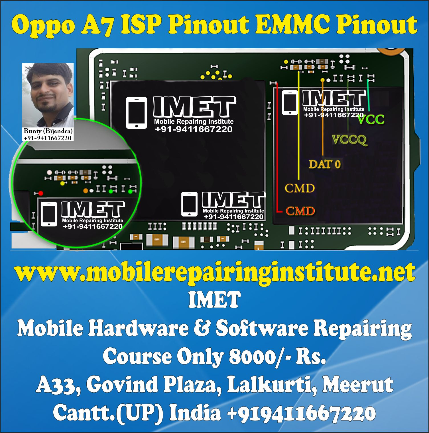 Oppo A7 ISP Pinout EMMC Pinout – Dead Boot Repair FRP Remove