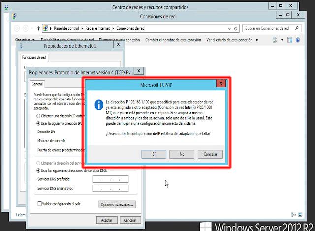 La dirección IP que especifico para este adaptador de red ya está asignada a otro adaptador que ya no está presente en el equipo. Si se asigna la misma dirección a ambos y los dos se activan, solo uno de ellos la usará. Esto puede dar lugar a una configuración incorrecta del sistema.