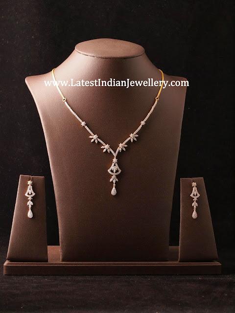 Stylish Simple Diamond Necklace Sets