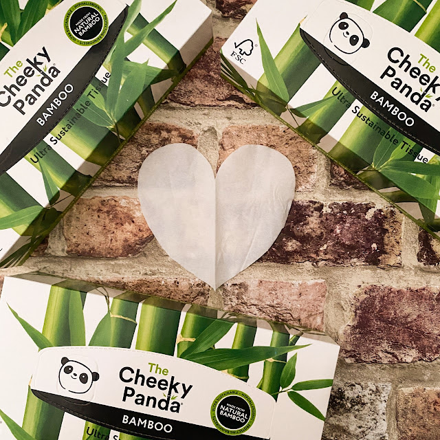 Box of The Cheeky Panda tissues surrounding a heart made out of tissue