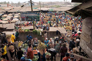 Food market in Cameroon Africa at 8am