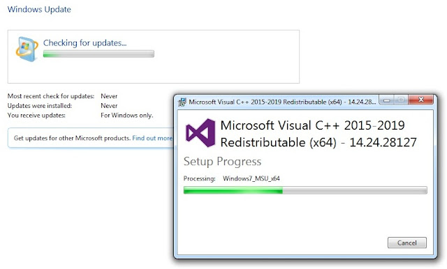 update windows 7 sp1 dan install microsoft visual c++