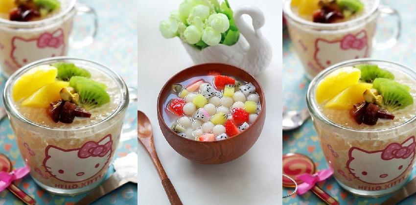 Chè sữa trân châu hoa quả