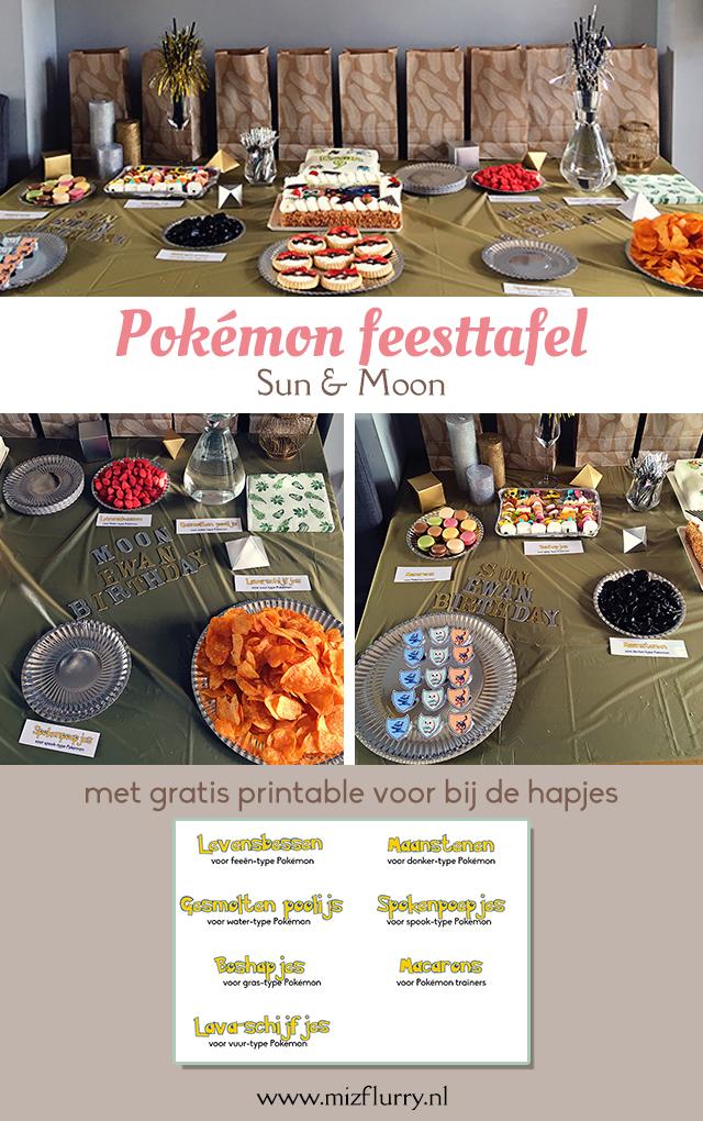 Pokemon feesttafel Sun and moon - met gratis printable voor bij de hapjes