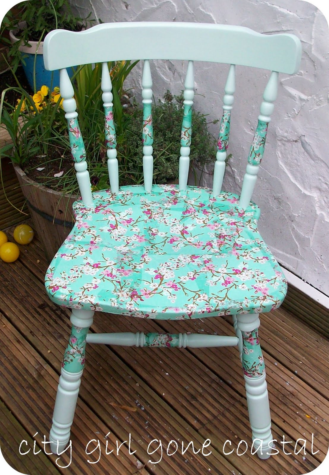 Outdoor Wooden Rocking Chair Decoupage Chair