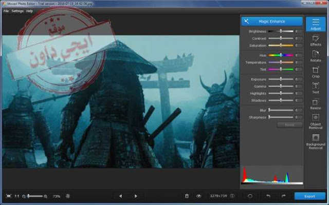 تحميل برنامج تعديل الصور والكتابة عليها Movavi Photo Editor 2020