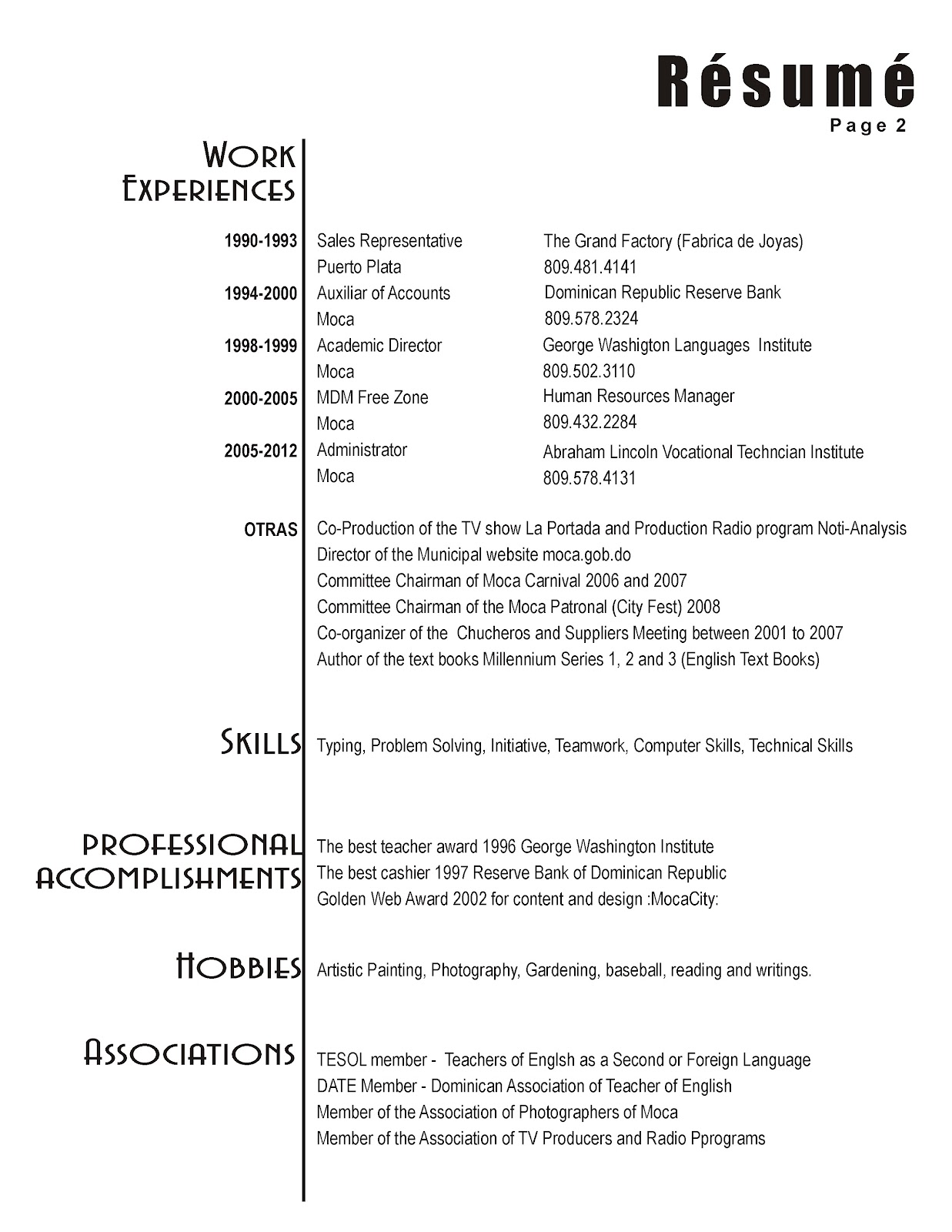 MOCACITY::: FRANKLIN DE JS. TORRES: Résumé or Curriculum Vitae (CV)
