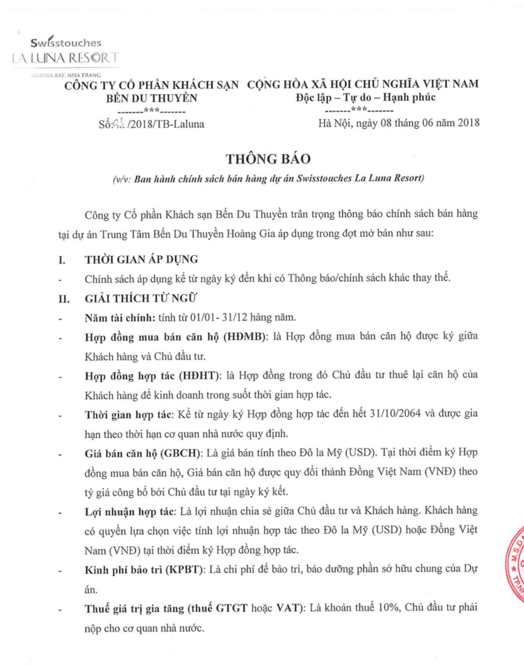 Chính sách bán hàng dự án La Luna Resort Nha Trang
