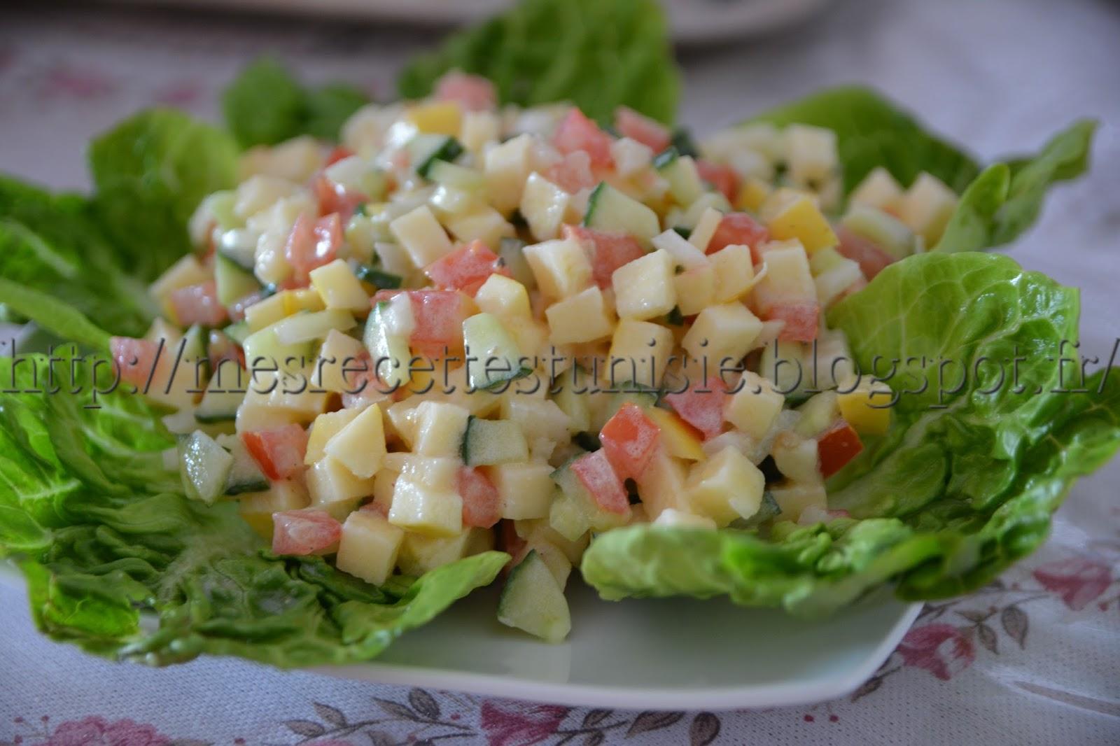 Recettes tunisiennes jiji salade tunisienne aux pommes - Recette de cuisine tunisienne facile et rapide en arabe ...