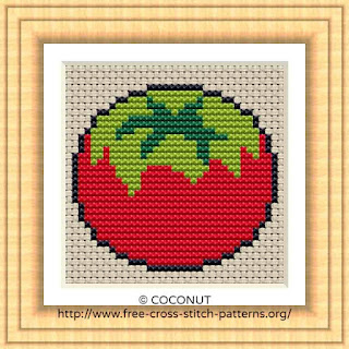 TOMATO, FREE AND EASY PRINTABLE CROSS STITCH PATTERN