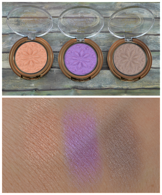 P2 beauty voyage LE moroccan love eye shadows 010 mesmerising sun, 020 vivid splash, 030 beige sand und Swatches