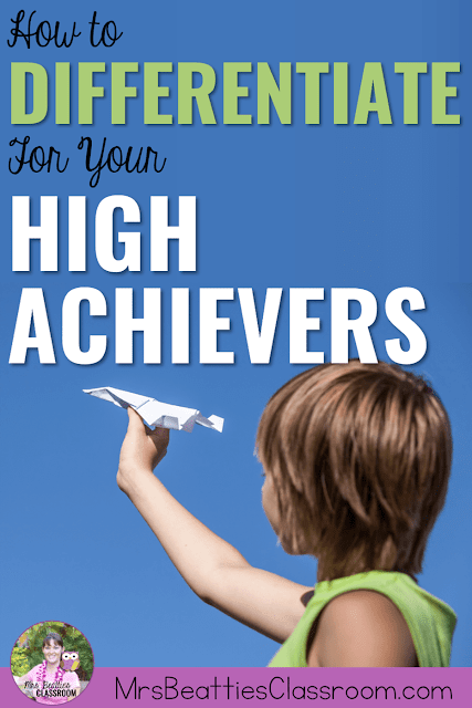 "Photo of child with paper airplane and text, ""How to Differentiate for Your High Achievers."""