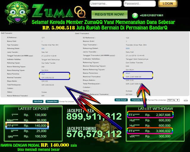 ZumaQQ Agen Bandarq Selamat Kepada Para Pemenang Periode 27 Juli 2019
