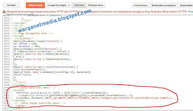 memasang script pada blog