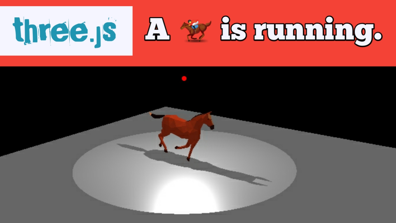threejs demo horses is running