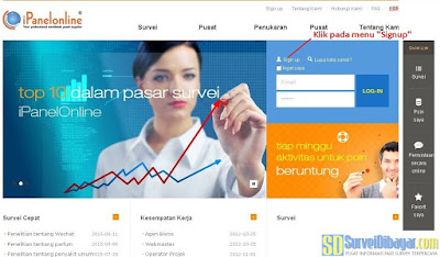 Menu Sign up pada situs paid survey iPanelOnline Indonesia | SurveiDibayar.com