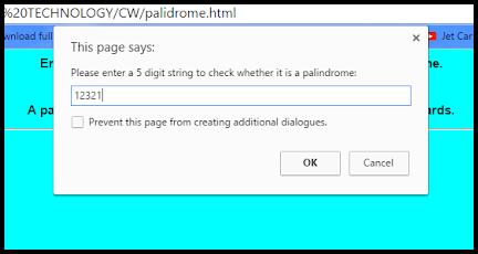 Javascript Palindrome taking input