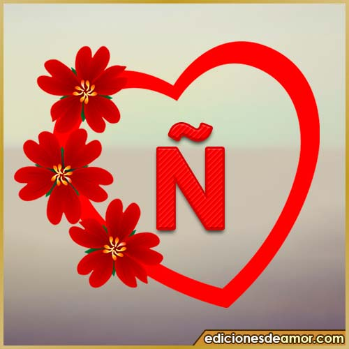 corazón de flores con letra Ñ