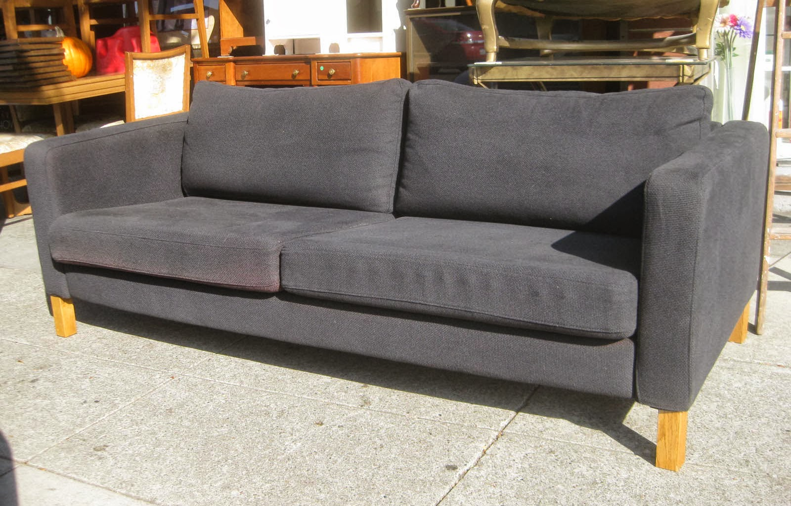 Black Fabric Sofa Chair Living Room Furniture Corner Uhuru And Collectibles Sold 75