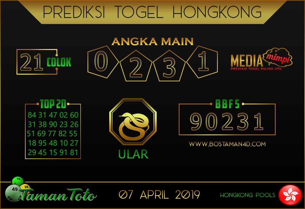 Prediksi Togel HONGKONG TAMAN TOTO 07 APRIL 2019
