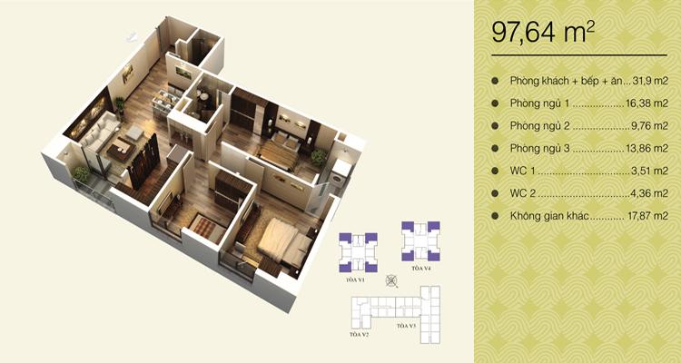 Home City Trung Kính - căn 97,64 m2