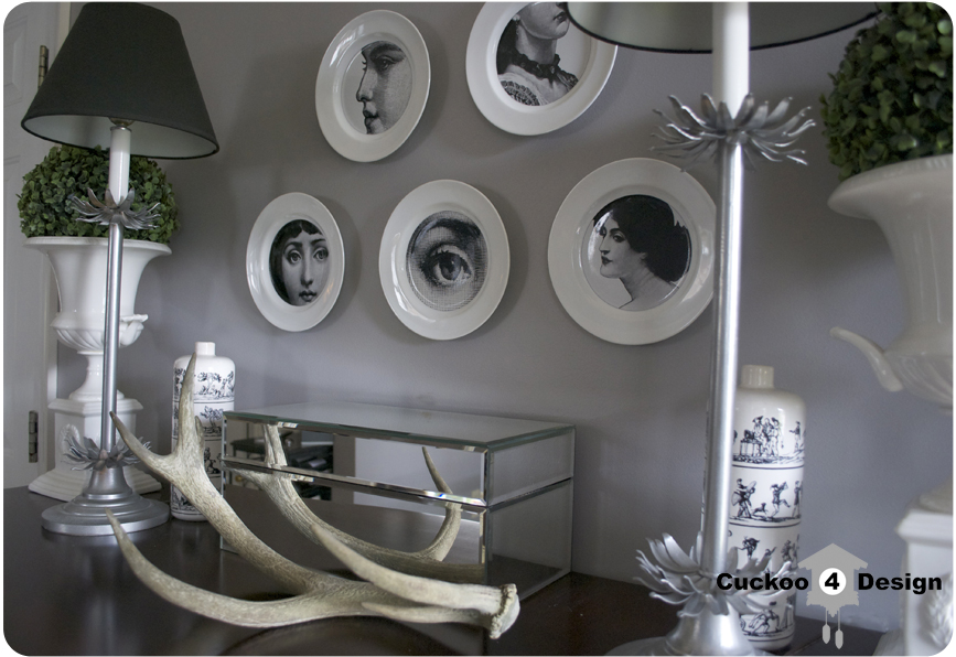 diy piero fornasetti plates with stickers