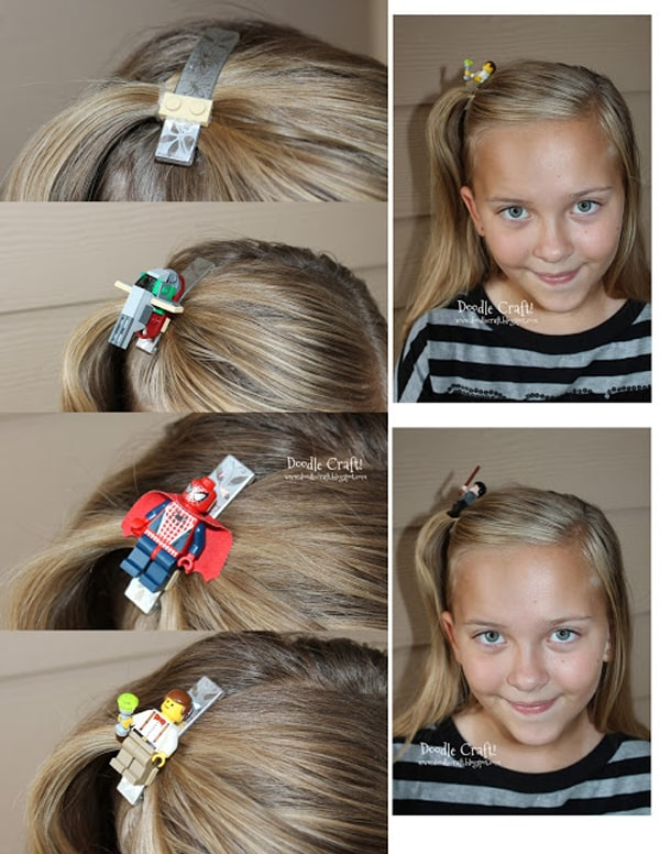 Make an interchangeable Lego minifigure hairclip, geek chic accessories.